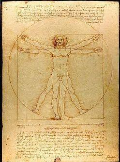 """""""El Hombre de Vitruvio"""" por Leonardo Da Vinci. Leonardo se basó en las proporciones descritas en el tratado de Vitruvio."""