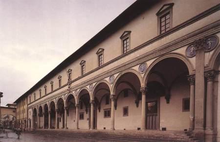 Fachada del Ospedale degli Innocenti ( Hospital de los inocentes), Florencia.