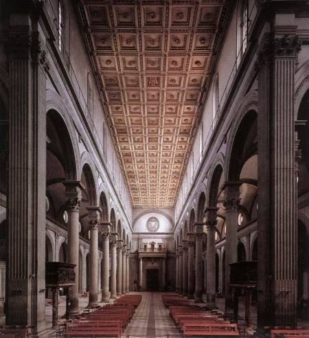Interior de la Basílica de San Lorenzo, realizada en Florencia entre 1418 y 1470. Fue encargada a Brunelleschi por los Médici y terminada por Antonio Manetti a la muerte del maestro en 1446.
