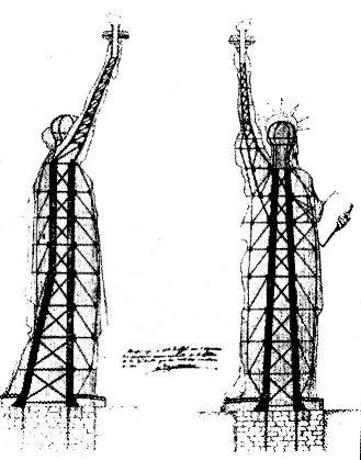 Estructura de la estatua de la libertad, 1881. 46 metros de altura, pensada para resistir al viento y para aguantar el recubrimiento de cobre de la estatua.